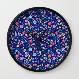 """Cute Floral pattern in the small flower. """"Ditsy print"""". Vintage. Wall Clock"""