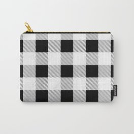 western country french farmhouse black and white plaid tartan gingham print Carry-All Pouch