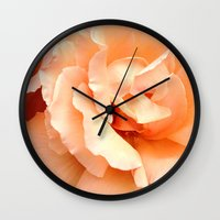 champagne Wall Clocks featuring Champagne Rose by Sweet Karalina