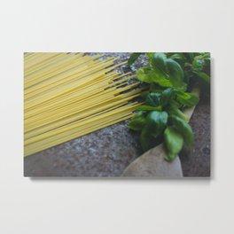 Pasta And Basilicum Metal Print