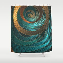 Beautiful Corded Leather Turquoise Fractal Bangles Shower Curtain