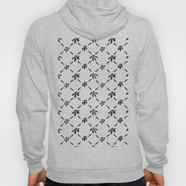 Floral Geometric Pattern Black and White Hoody