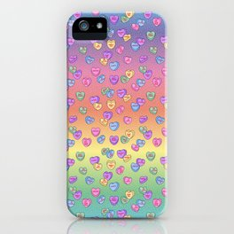 Feminist Valentine Candy Hearts in Rainbow, Not your Babe iPhone Case