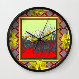 DECORATIVE RED-GOLD WHITE DAFFODIL GARDEN  ART Wall Clock
