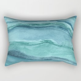 Watercolor Agate - Teal Blue Rectangular Pillow