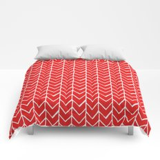Herringbone Red Comforters