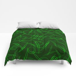Abstract green tree branches, stalks and leaves for spring and summer mood. Comforters