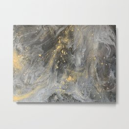Black and Gold Galaxy Marble effect Metal Print