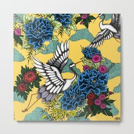 Cranes (Blue) Metal Print