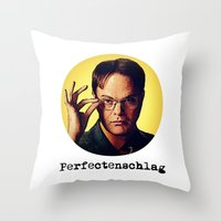 dwight Throw Pillows featuring Perfectenschlag  |  Dwight Schrute by Silvio Ledbetter