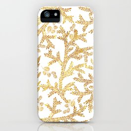 Modern faux gold glitter white elegant floral pattern iPhone Case