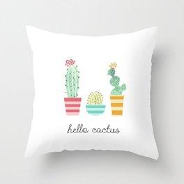 Hello Cactus Throw Pillow