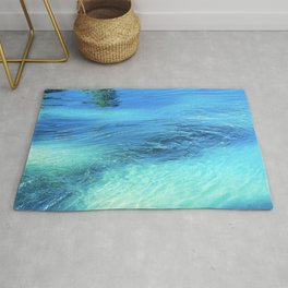 Lake Reflections: Whirlpool in Aqua and Cerulean Blue Rug