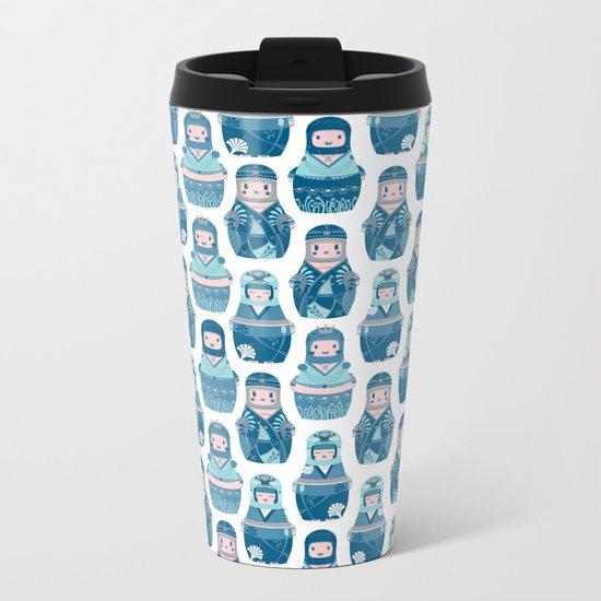 Matrioshkas Pattern Metal Travel Mug