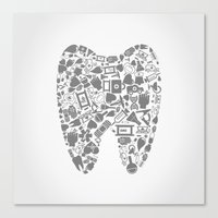 tooth Canvas Prints featuring Tooth by aleksander1