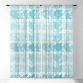 Turquoise Teal Blue Stamped Patchwork Sheer Curtain