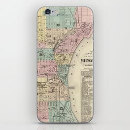 Vintage Map of Milwaukee Wisconsin (1878) iPhone Skin