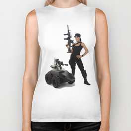 Swat Chick- Girl with SWAT Gear, Military Gun and Tactical Robot Biker Tank