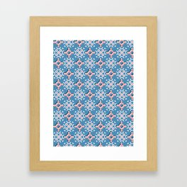 Retro Daisy Floral Vector Pattern Hand Drawn,Seamless Vintage Style Framed Art Print