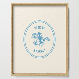 Yee Haw in Blue Serving Tray