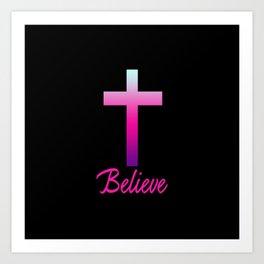 Believe (Pink Cross) Art Print