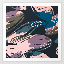 Abstract lavender pastel color creative brushstrokes Art Print