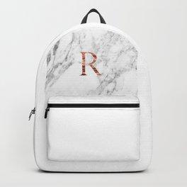 Monogram rose gold marble R Backpack