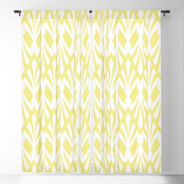 Decorative Plumes - White on Lemon Sherbert Blackout Curtain