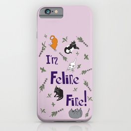 Kitty Cats and Catnip Illustrated Typography Print in Lavender Purple iPhone Case