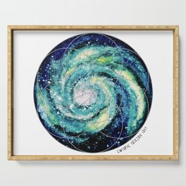 Spiral Galaxy with Seed of Life Serving Tray
