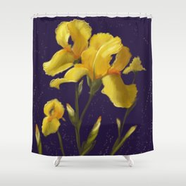 Irises in Yellow Shower Curtain