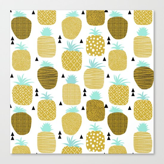 Pineapples triangles black and white minimal pattern tropical fruits print Canvas Print