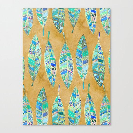 Jeweled Enamel Leaves on Tan Canvas Print