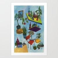 botanical dimensions_blue Art Print