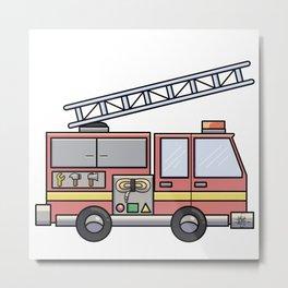 Fire Truck Pink Metal Print