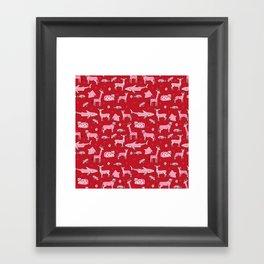 valentines animals nature sharks giraffe deer cats nursery love hearts Framed Art Print