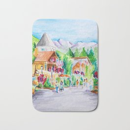 Vail Village Colorado Watercolor Bath Mat