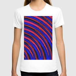 graffiti line drawing abstract pattern in red blue and black T-shirt
