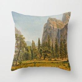 Bridal Veil Falls, Yosemite Valley, California Throw Pillow