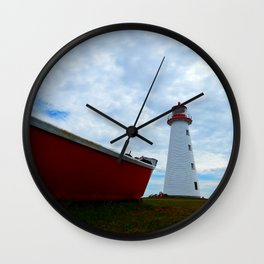 Boat and Lighthouse in Point Prim PEI Wall Clock