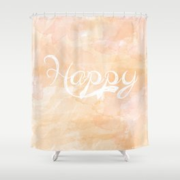 Watercolor Happy Shower Curtain
