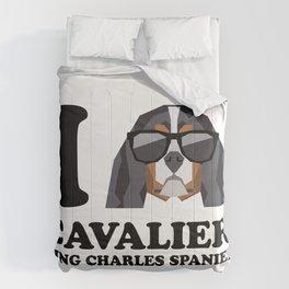 I Love Cavalier King Charles Spaniel modern v1 Comforters