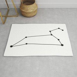 Leo Star Sign Black & White Rug