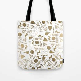 Retro abstract geometrical faux gold white 80'spattern Tote Bag