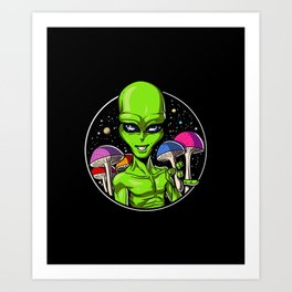 Alien Psychedelic Psilocybin Magic Mushrooms Art Print