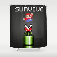 mario Shower Curtains featuring Mario survive by eARTh