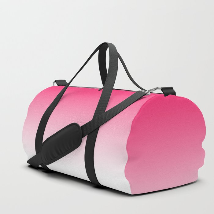 Modern bright simple neon pink white color ombre gradient Duffle Bag ... 56db41750f836