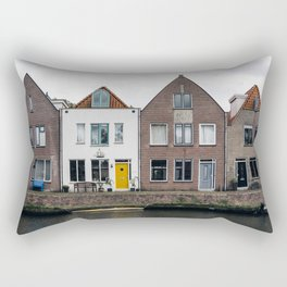 Row houses and Canal in The Netherlands Rectangular Pillow
