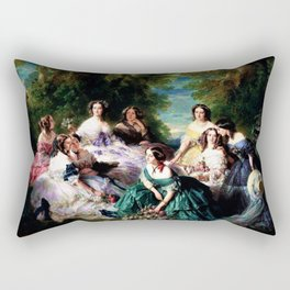 "Franz Xaver Winterhalter's masterpiece ""The Empress Eugenie surrounded by her Ladies in waiting"" Rectangular Pillow"