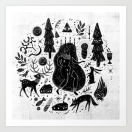 Yule, Birth of the Sun - Black Art Print